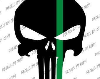 Punisher Skull Solid Thin Green Line Car Decal FED Federal Border Patrol Park Ranger Game Warden