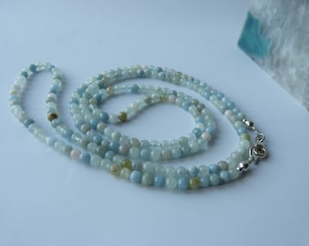 Aquamarine and beryl necklace, Long gemstone necklace, Bead necklace, Casual wear, Occasion wear, Sterling silver, Handmade