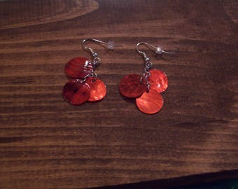 Red Shimmer Shell Earrings
