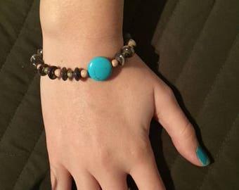 turquoise and wood bracelet