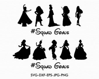 Squad goals svg, Disney Princesses squad goals svg Silhouettes  clipart, EPS png jpg files. Disney svg dxf for Silhouette Cameo or Cricut