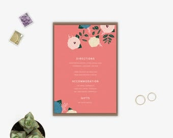 Wedding Accommodation Card | Details | Information | Floral Wedding Invitations UK | Salmon Rose