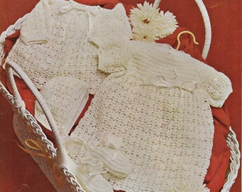 Baby Layette, Bonnet, Bootees and Dress, Crochet Pattern, Instant Download.