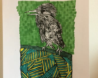 A4 size Lino cut bird print