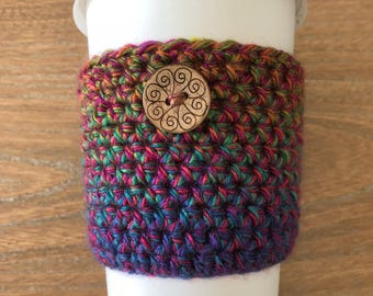 Crochet Coffee Cozy- Merry and Bright