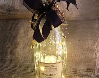 Lighted Moscato Bottle with Warm White LED Battery Operated Lights