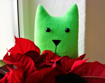 Green cute toy Stuffed animal Baby shower gift Handmade Unique cat toys Cute gift Toy for kids Soft toy Personalize cat toy Valentines gift
