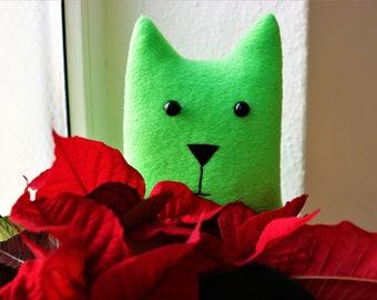 Green cat toy plushie Animal lover gift boy girl birthday Easter Baby shower Soft plush pillow Nursery decor Kawaii children toy cat