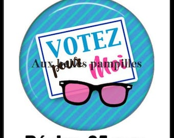 Round cabochon resin 25 mm - paste vote for me (1987) - Election, president
