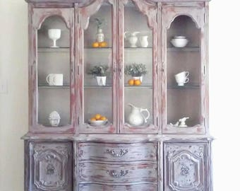 Rustic Farmhouse Chic Buffet With Hutch China Cabinet