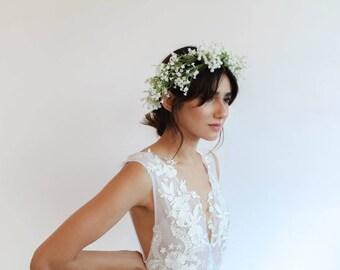Floral wedding dress etsy deep v neck floral wedding dress junglespirit Images