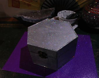 Holographic Moonlight Tourmaline Quartz Trinket Box Gift Set
