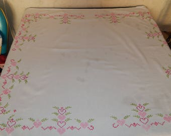 Vintage Small Tablecloth with Hearts