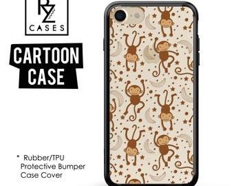 Monkey Phone Case, iPhone 7 Case, Cute Animal Phone Case, Monkey Case, Gift for Her, iPhone 7 Plus, Cartoon Case, Rubber, Bumper