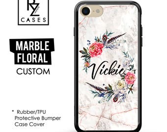 Rose Marble Phone Case, Marble iPhone 7 Case, Boho Case, Floral Marble Case, Personalized Gift, iPhone 7, Gift for Her, Rubber Case, Bumper