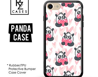 Panda Phone Case, Heart Phone Case, Cartoon Phone Case, iPhone 7, Animal, Love Case, Gift for Her, iPhone 7 Plus, iPhone 6S, Rubber, Bumper