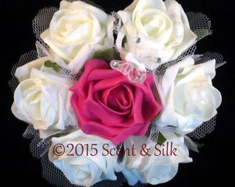 Matching Flowergirl Posey, Double and Single Buttonholes Fuchsia and Ivory or Fuchsia and White