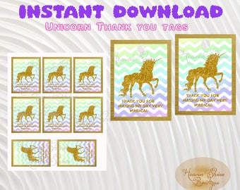 INSTANT DOWNLOAD,Unicorn Thank you Tags, Unicorn Birthday Thank you Tags, Unicorn Tags,Gold Unicorn Tags