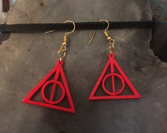 Deathly Hallows Earrings - Harry Potter Earrings - Gryffindor Red and Gold