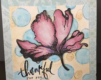 THANKS Thankful for You Original Watercolors and Colored Pencil Flower Card
