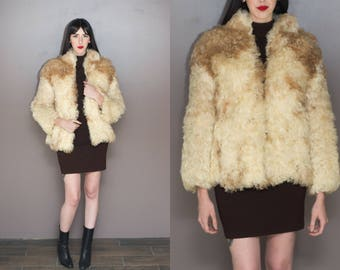 70s Vintage Mongolian Fur Coat Ivory White & Brown Mongolian Lamb Fur Coat