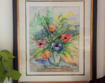 """Watercolor: """"Bouquet with anemones"""""""