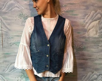 Womens Denim Vest Blue Jeans Vest Fitted Waistcoat Metal Buttons Size Large