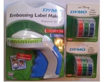 Dymo Xpress Package Embossing Label Maker + 6 x Multi Colour Tapes