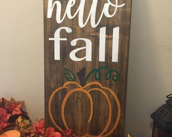 HELLO FALL Handmade Wood Sign