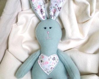 Handmade rabbit, Sewn rabbit, wool rabbit, Handmade toys, merino wool soft toy,Plush Rabbit, Toy Rabbit, Gift For baby, Plush hare Soft Toy