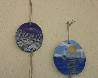 pendant ornaments,wooden painted handmade
