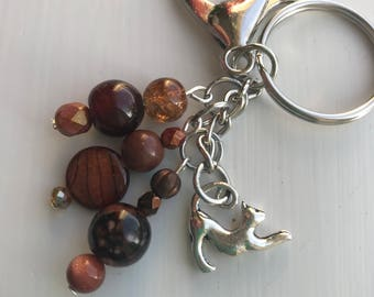 Keychains for Women, Cat Bag Charm, Cat Keychain, Cat Lover Gift, Purse Charm, Purse Charms for Handbags, Beaded Bag Charm, Beaded Keychain