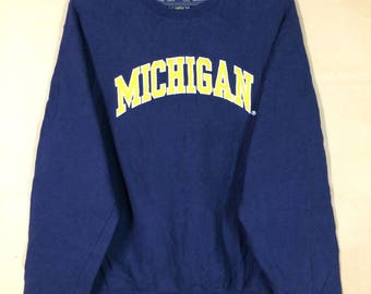 Steve & berry's Michigan Embroidered Spell Out Crewneck Sweatshirt