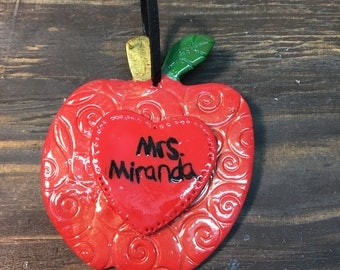 Personalized teacher gifts.Polymer clay apple ornament .clay apple gift tag. Apple ornament .Teacher ornament.