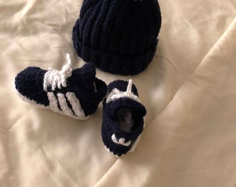 Baby Boy Crocheted Adidas Shoes and Beanie