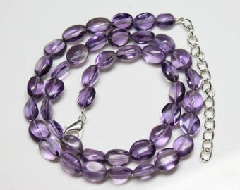 "Natural Brazil Amethyst Oval briolette Tumbles Strand Necklace 122 Carats , 17"" Inches Strand, Size- 7x9 TO 8x10 MM Code-HN47"