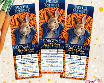 Peter Rabbit Movie Tickets. Birthday Party Invitation. Peter Rabbit Film Inspired Kid's Party Invite Any Age. Any Event. 3 4 5 6 7 8 9 10 11