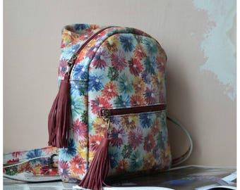 Mini backpack/flower backpack/womens backpack/minimalist backpack/city backpack/everyday backpack/handmade backpack/gift for her/stylish
