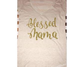 Blessed mama V neck