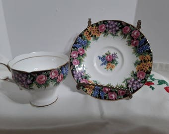 Vintage Paragon Teacup and Saucer Old English Garden Beautiful Pink Roses