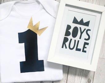 Boys First Birthday celebration outfit, cake smash photo shoot long/short sleeved bodysuit or tshirt