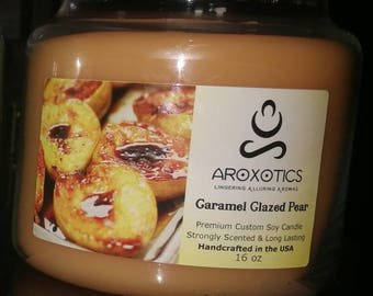 16 oz 3 Wick Aroxotics Custom Soy Scented (Caramel Glazed Pear) Candle
