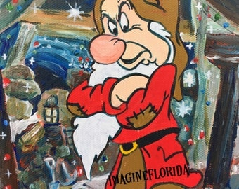 Grumpy from Snow White and the Seven Dwarfs 6x6 Acrylic on Canvas - Original Painting - Disney Inspired Artwork - Vintage Retro