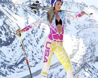Lindsey Vonn Olympic Winter Games 2018 Skier 2.5 x 3.5 Fridge Magnet