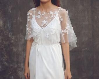 "Lace Wedding Dress Cover Up, Embellished Bridal Dress Cover Up, Tulle Wedding Cape, Bridal Bolero Tulle, Lace Bridal Cover Up / ""Cape 97"""