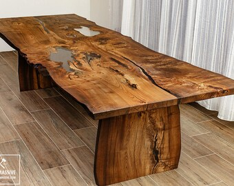 Dining Table Wood Epoxy | Dining Table Legs Wood | Rustic Table | Slab Table  |
