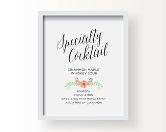 8x10_Floral Wedding Sign_Customized Bar Sign Specialty Cocktail