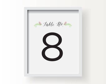 8x10_Floral Motif Wedding Sign_Table Numbers