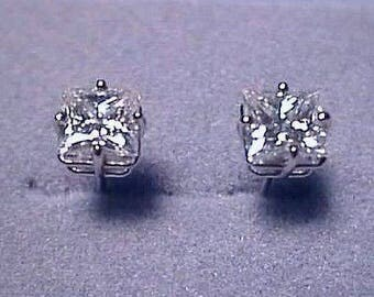 Forever One Moissanite Earrings 2 ct twt Princess Cut 14k White Charles and Colvard D E F Colorless
