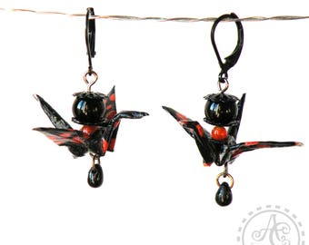 Earrings red and black beads and origami